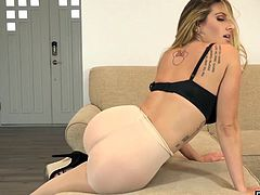 Teagan Presley is one hot babe Pantyhose and highheels on she is sure to leave you with a rock hard cock drooling for more
