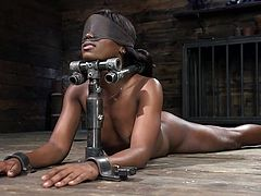 This ebony milf enjoys hard bdsm games and her severe master prepared something special for her this time. He whipped her naked body, fingered her pussy and pinched her nipples with clamps, before... Join and have fun!