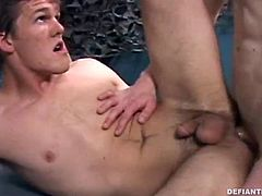Then Nick buries his big cock in Codys ass and gives it a good hard fucking. Cody paints a load onto his own face and Nick follows with his cum for a double facial thats just begging to get licked up.