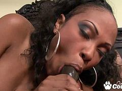 Slutty ebony Lacey Duvalle gets a lot cumshot on her tits