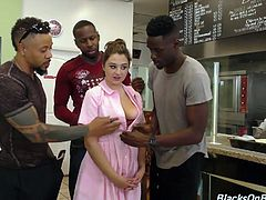 Several black studs fuck all holes of sweet looking waitress Elektra Rose