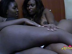 Hot ebony babes are doing some really kinky stuff to each other which makes them have multiple heavenly orgasms in a row