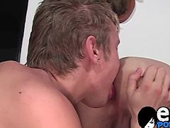 Good looking emo twink kisses with his friend and blows him
