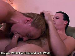 Natural big tits blonde Denice K gagging a giant cock and swallows sperm chunk