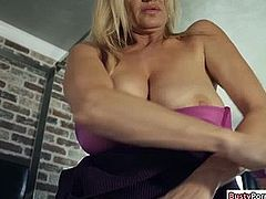 Hot stepmom jerking stepsons hard dick