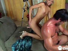 Young Kacey Jordan with pussy stretched banged by meat shaft and gets cumshot on her face