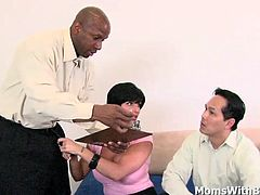 Shay Fox has been having some sex issues with her Asian husband. She has needs and always dreamt of having sex with a black guy. Fortunately, the therapist is. They went over a sex exercise sucking his big black cock and fucking her milf twat and gets cumshot all over ther breasts.