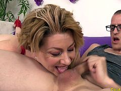 Mature slut gets her tits sucked She gives a nice blowjob Then gets her pussy fucked deep and good in many positions She gets facialled in the end