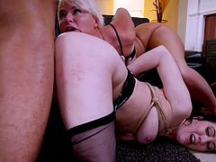 These gorgeous milfs like black dicks and rough bdsm pleasures and that's why the black guy, Mickey Mod, is here. Two horny milfs with extremely wet pussies versus one big black cock. Relax and enjoy impetuous sex action!