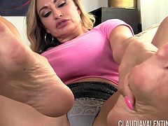 Feet play with Claudia Valentine who is extremely aroused and hot