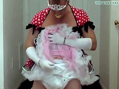 Diapered sissy princess in pretty red dress triple diapered