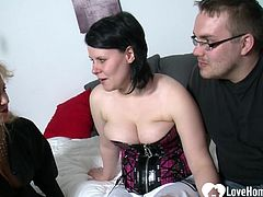 These two will passionately fuck as another blonde chick is watching them closely.