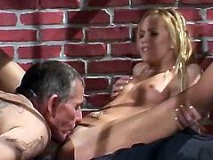 Tight Blonde Screws An Old Lawyer In A Cell