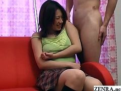 Abnormal JAV CFNM featuring a confused amateur in a camisole exposing her bare armpit so a naked actor can rub his dick in it with English subtitles