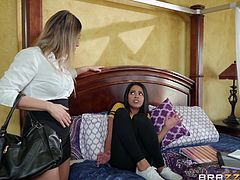 Vienna was in trouble with her step-mom. She was doing bad in school and supposed to be studying. Sent to her room, she started out well but then grew horny. She was playing with herself, and Makayla caught her. She was tough but understanding, so she decided to help out and get it on with her.