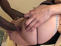 Bobbi Starr is one nasty slut she throats a huge dick down her throat and gets fucked hard in the ass by a big black cock She gets cum in her mouth and start playing with it