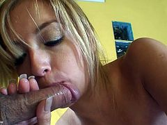 Beautiful blonde sucking and fucking in POV