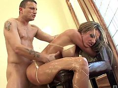 Crazy slut Teagan Presley oils up her holes before a hardcore pounding