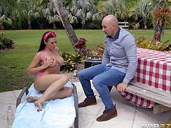 Rachel Starr was resting outside in the sun, until the moment her horny neighbor noticed her curvy body. Watch him sucking on Rachel's big titties, before she pulls his erect dick out and... Relax and enjoy impetuous sex action!