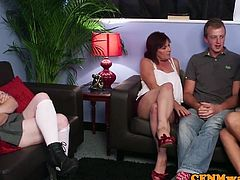 Mature beauties stroke cock in CFNM foursome