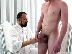 President Ballard has Elder Edwards all to himself for a while, so he's going to enjoy the time he has with him. His arousal grows as the young man gets naked, showing off his beautiful body. He fingers him tenderly while stroking his stiffening cock, listening to how good it makes him feel.