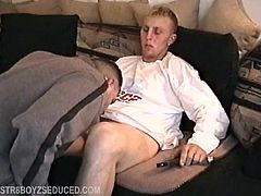Straight boy Davey is a furniture mover with a 6 inch dick. Hes horny and already has his hand down his pants as I set up the camera. When he takes off his jeans I move in and suck on his foreskin. I pull my cock out and Davey cant take his eyes off it. Then he remembers the camera and wonders if his friends will see him fooling around with another guy. Davey grabs me by the back of the head and has me bobbing up and down on his cock. After all, he just wants to bust his nut.