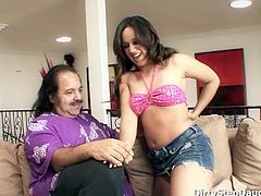 Teen Lynn Love is being scolded with how she dress up by Ron Jeremy. She deepthroats his cock very nicely. She gets fucked in the couch while her mom is away. Ron Jeremy got lucky fucking this sweet tit teen.