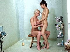 horny lesbians are fucking in the shower