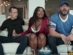 Sexy black mama Diamond is sucking off the hot neighbor while he watches the game. She blows him and rides his cock right in front of the guy's best friend! This is so shocking and wild. Have you ever seen anything so crazy?