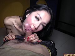 Red-hot Thai shemale babe Chompoo squeezes her boobs and spreads her ass. Chompoo's dick is already rock-hard. She starts the action without wasting the time. She gives guy perfect blowjob and gets ass fucked bareback.