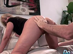 Mature blonde wife sucks a hard cock in front of her hubby Then lets him lick her pussy Later she takes his dick deep inside her pussy and gets fucked in many positions He cums on her tits