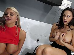 Concupiscent milf Chanel Preston and her kinky GF go wild in the glory hole room
