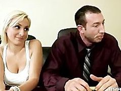 Horny big-tit brunette & blonde office sluts fuck big-dick at work