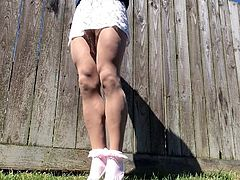 Pantyhose outdoor lacy mini dress.