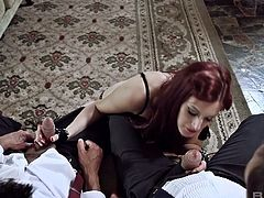 Lewd red haired seductress Mira Sunset gets double penetrated
