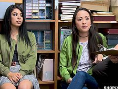Yummy shoplifting chicks Gina Valentina and her friend are fucked by horny cop