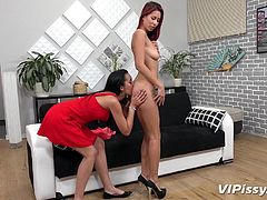 Look at the piss fly all over the place, as she opens up her legs and lets the urine hit her lover right in the face. Her hot girlfriend loves the taste of pee and she enjoys having warm piss in her mouth.