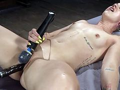 Dylan loves our machines, which is why she's here today... again. The minx just can't get enough of our powered orgasm bringers, making her cum over and over again, even making her pussy squirt, soaking herself and everything around her.