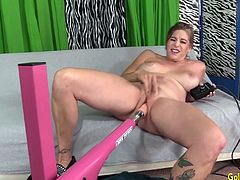 Sexy mature woman shows her mature tits pussy and ass She turns on the fucking machine and sucks the dildo mounted on it Later she takes it in her pussy and ride speeds and positions