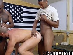 Army muscles BBC ramming the new white cadet in threesome