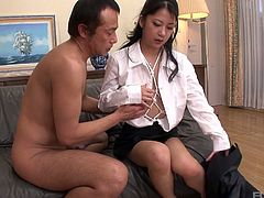 Japanese secretary Satomi Suzuki is tied up and creampied in the office