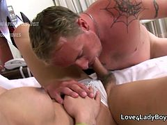 White tourist male talks with an Asian ladyboy before sucking and fucking her