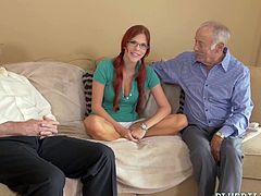 Red haired nympho in glasses Zara Ryan is fucked by two old farts