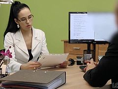 LOAN4K. Sweet girl Elis Dark in glasses has sex at first day