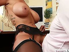 Office clerk bonks his breasty colleague bridgette b at work