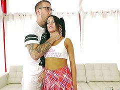 Whorish chick in short skirt Megan Rain takes a thick pole in her stretched butt hole