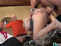 Swinger blonde wife sucks a dick at a porn set in front of her hubby and producer Then she gets her pussy fucked hard and deep in many positions He cums in her mouth