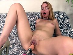 Horny mature woman introduces herself She gets naked and rides a fucking machine in her mouth Then she lets the machine her pussy in many positions until she gets orgasm