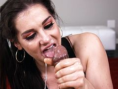 POV girl throats the cock until its last drop