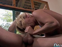 Blonde swinger wife sucks a hard cock in front of her hubby and a porn producer Then she lets the guy fuck her pussy in many positions She gets facialled in the end